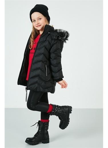 Lela Lela Yakası Suni Kürklü Kapüşonlu Şişme Mont Kız Çocuk   Siyah